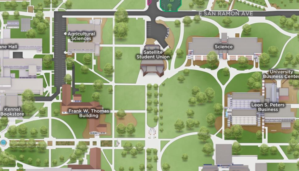 A Snapshot of the Fresno State campus map