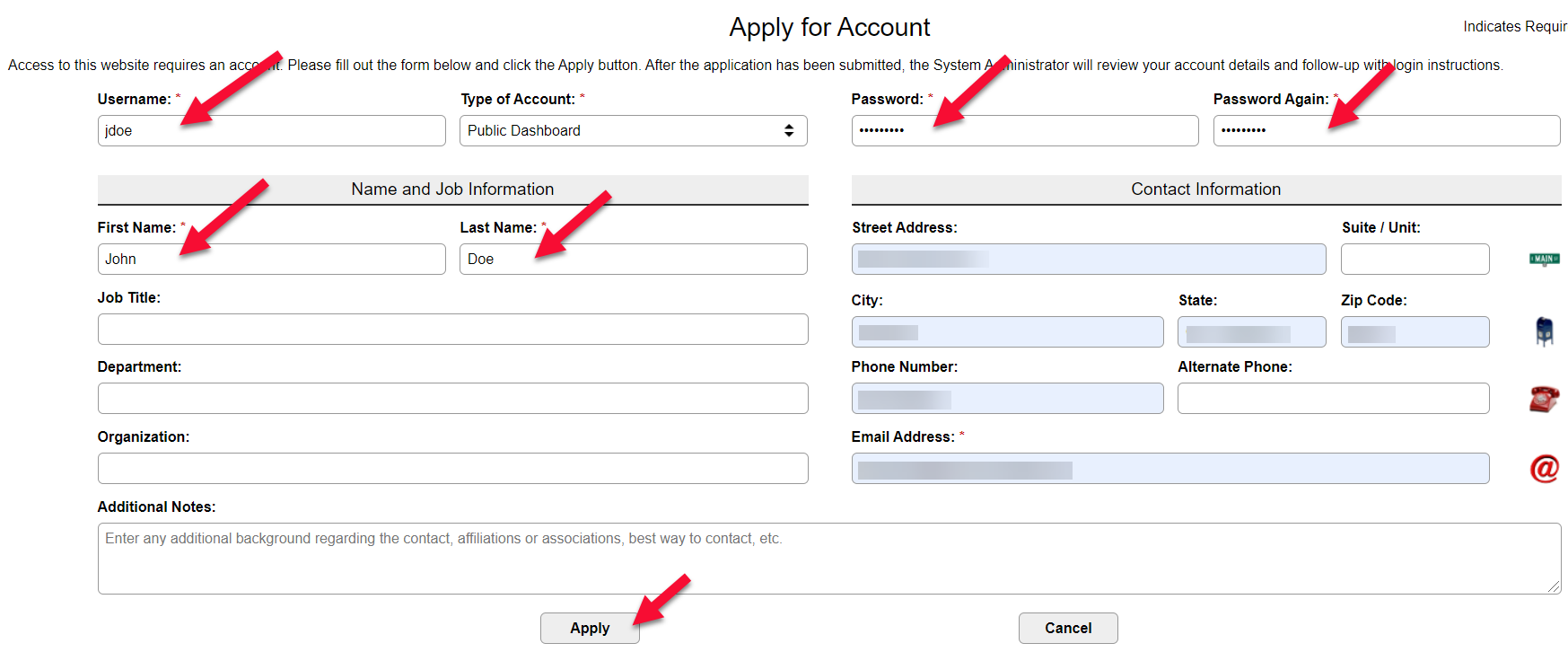 Image of Apply for Account screen to input user information