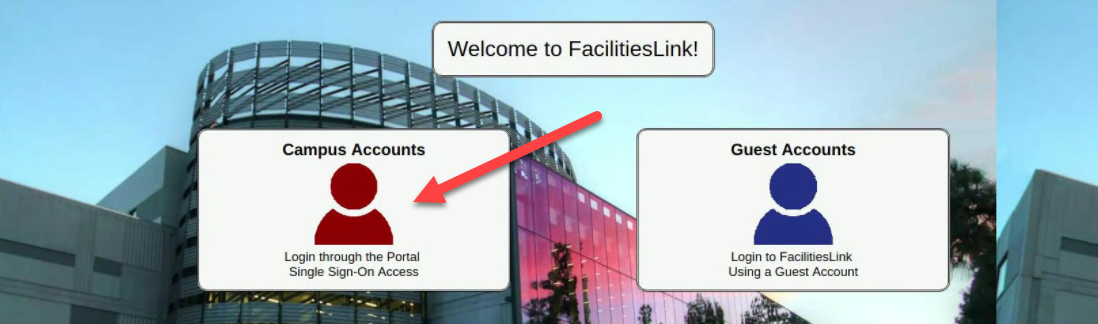 Facilities Link Home Screen with two sign on options, Campus Accounts and Guest Accounts.